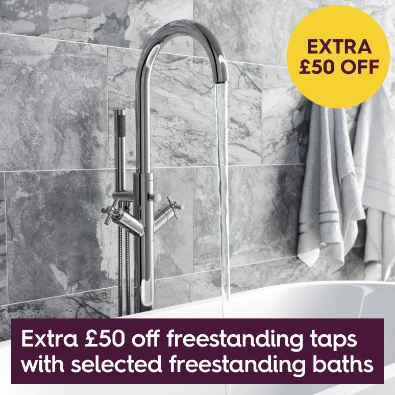 £50 off a freestanding bath filler with any freestanding bath