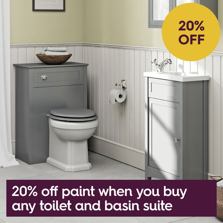20% off paint when you buy any toilet & basin suite