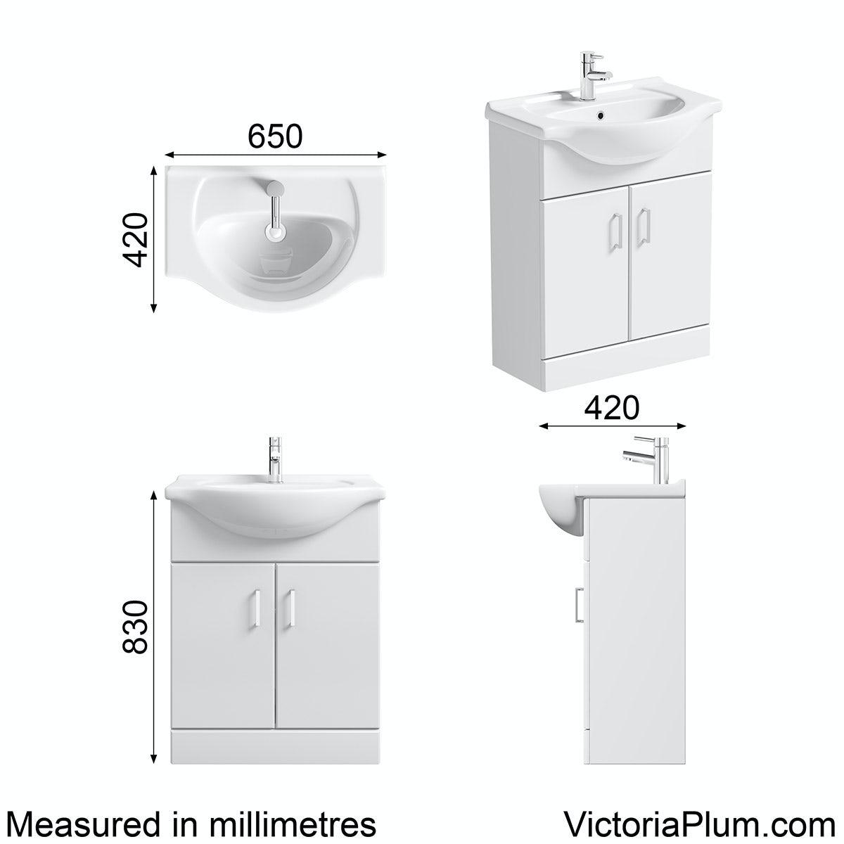 Sienna White Vanity Unit With Basin 650mm Victoriaplum Com