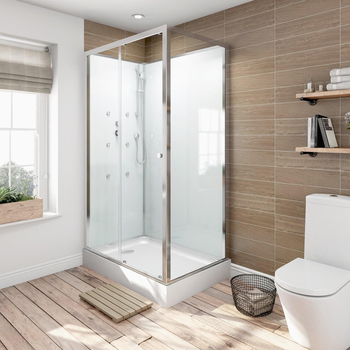 Glass backed rectangular shower cabin 1200 x 800 for Bath 1200