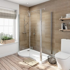6mm left handed P shaped shower enclosure with tray 1500 x 700