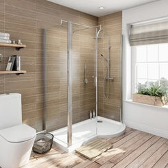 6mm right handed P shaped shower enclosure with tray 1500 x 700