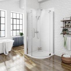 Luxury 8mm right handed frameless hinged door quadrant shower enclosure 800 x 800 offer pack