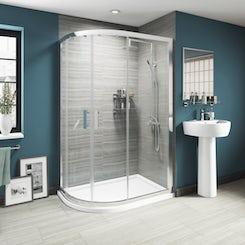 Luxury 8mm sliding door offset quadrant shower enclosure offer pack