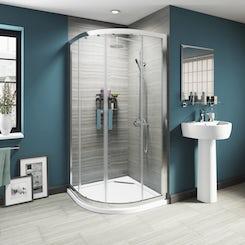 Luxury 8mm sliding door quadrant shower enclosure 1000 X 1000 offer pack