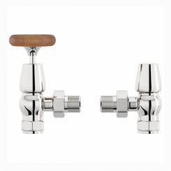 Traditional angled radiator valves with wood effect handle