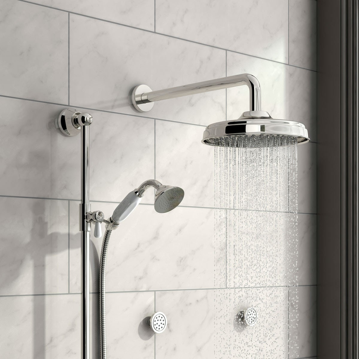 Body Jet Shower Bathroom: The Bath Co. Traditional Thermostatic Triple Diverter