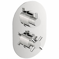 Mode Alexa oval twin thermostatic shower valve with diverter offer pack