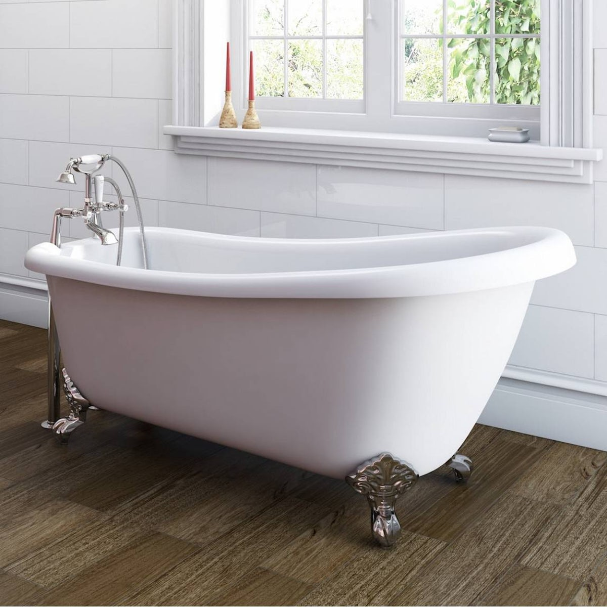 Deco bathroom suite with slipper bath small for Small baths 1200