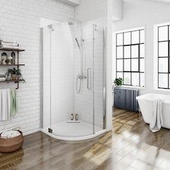 Luxury 8mm left handed frameless hinged door quadrant shower enclosure 800 x 800 offer pack