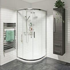 Mode premium 8mm easy clean sliding quadrant shower enclosure 800 x 800 offer pack