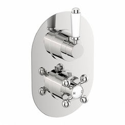 The Bath Co. Traditional oval twin thermostatic shower valve offer pack