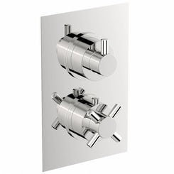 Mode Alexa square twin thermostatic shower valve with diverter offer pack