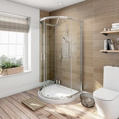 6mm sliding D shaped shower enclosure with tray 1030 x 900