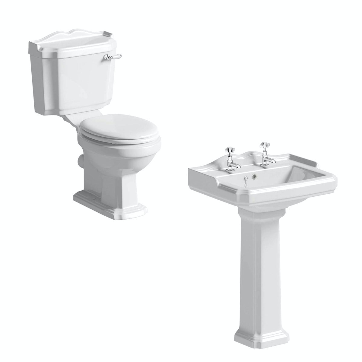 Winchester close coupled toilet suite with white seat and full pedestal basin 600mm
