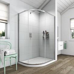 Clarity 6mm single door offset quadrant shower enclosure 900 x 760 offer pack