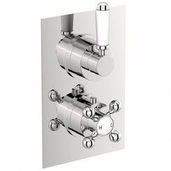 The Bath Co. Traditional square twin thermostatic shower valve with diverter