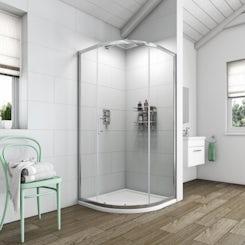 Clarity 6mm single door quadrant shower enclosure 800 x 800 offer pack